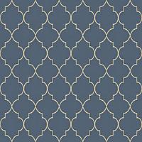 Grandeco Deco trellis Navy Geometric Metallic effect Embossed Wallpaper