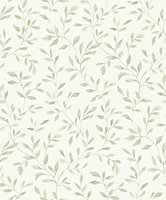 Grandeco Nerine Sage green Leaf trail Woven effect Embossed Wallpaper