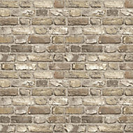 Grandeco Neutral Faux wall Brick effect Embossed Wallpaper