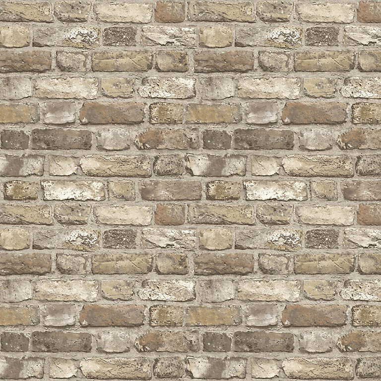 Grandeco Neutral Faux Wall Brick Effect Embossed Wallpaper Diy At B Q