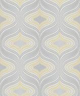 Grandeco Nuevo Grey & yellow Geometric Glitter effect Textured Wallpaper