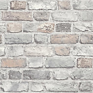 Grandeco Rose Faux wall Brick effect Embossed Wallpaper