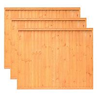 Grange Closeboard Vertical slat Fence panel 1.83m 1.5m, Pack of 3