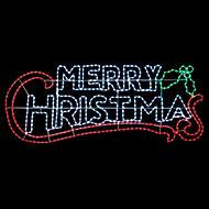 Green, red & white LED Merry Christmas Single Christmas light