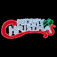 Green, red & white LED Merry Christmas Tinsel silhouette