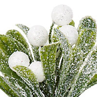 Green & white Glitter effect Mistletoe Pick
