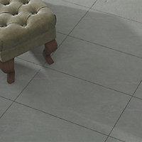 Grey Matt Slate effect Porcelain Outdoor Floor Tile, Pack of 6, (L)600mm (W)300mm