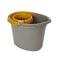 Grey & yellow Polypropylene 12L Bucket & wringer