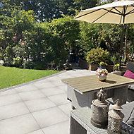 Grove Cream Matt Stone effect Porcelain Outdoor Floor tile, Pack of 2, (L)600mm (W)600mm