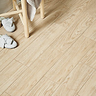 Guigliano Beige Matt Wood effect Ceramic Floor tile, Pack of 10, (L)600mm (W)150mm