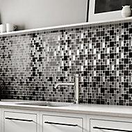 Gunmetal Luxe Glass & metal Mosaic tile, (L)300mm (W)300mm
