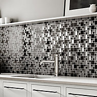 Gunmetal Luxe Modular Glass & metal Mosaic tile, (L)300mm (W)300mm