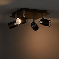 Hades Chrome effect Mains-powered 4 lamp Spotlight