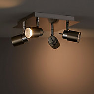 Hades Satin Chrome effect Mains-powered 4 lamp Spotlight