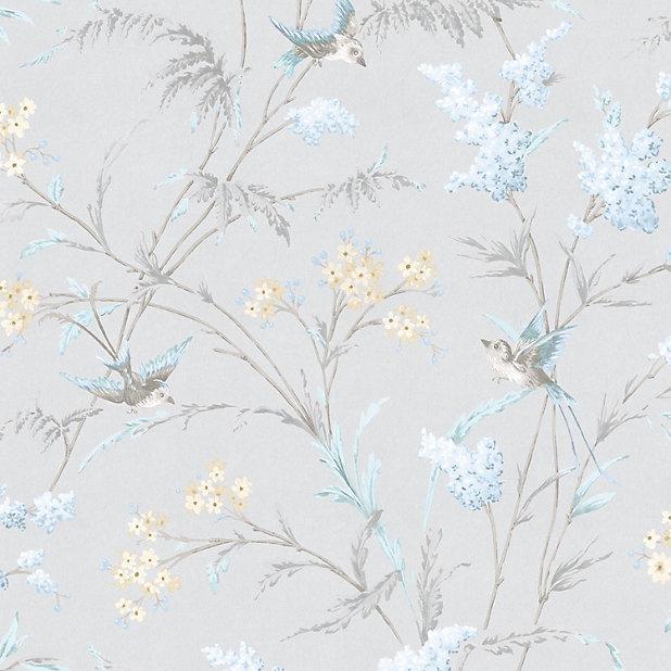 Hailey Blue Grey Floral Birds Glitter Effect Wallpaper Diy At B Q