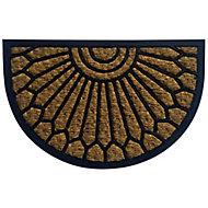 Half moon Black & natural Coir & rubber Door mat (L)0.4m (W)0.4m