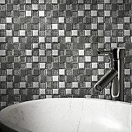 Hammerfest White Glass Mosaic tile, (L)300mm (W)300mm