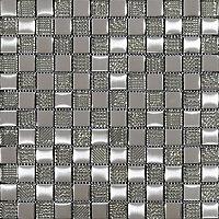 Hammerfest White Glass Mosaic tile sheets, (L)300mm (W)300mm