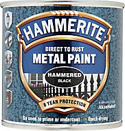 Hammerite Black Hammered effect Metal paint, 0.25L