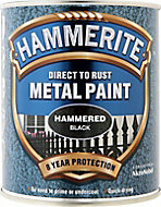 Hammerite Black Hammered effect Metal paint, 0.75L