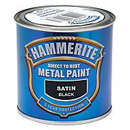 Hammerite Black Satin Metal paint, 0.25L