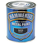 Hammerite Black Satin Metal paint, 0.75L