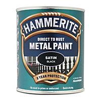 Hammerite Black Satin Metal paint, 0.75L