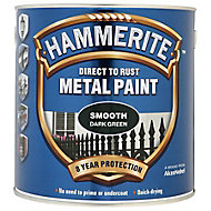 Hammerite Dark green Gloss Metal paint, 750ml