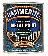 Hammerite Dark green Hammered effect Metal paint, 750ml