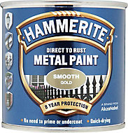 Hammerite Gloss Gold effect Metal paint, 250ml