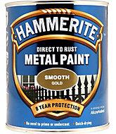 Hammerite Gloss Gold effect Metal paint, 750ml