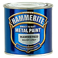 Hammerite Silver grey Hammered effect Metal paint, 0.25L