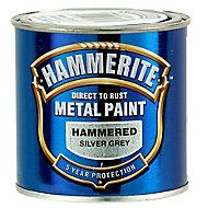 Hammerite Silver grey Hammered effect Metal paint, 250ml