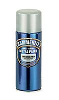 Hammerite Silver grey Hammered effect Spray paint, 400ml