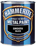 Hammerite Smoothrite Black Gloss Metal paint, 2.5L