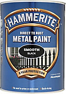 Hammerite Smoothrite Black Gloss Metal paint, 5L