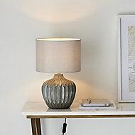 Harbour Studio Iris Ribbed Matt Grey Table light