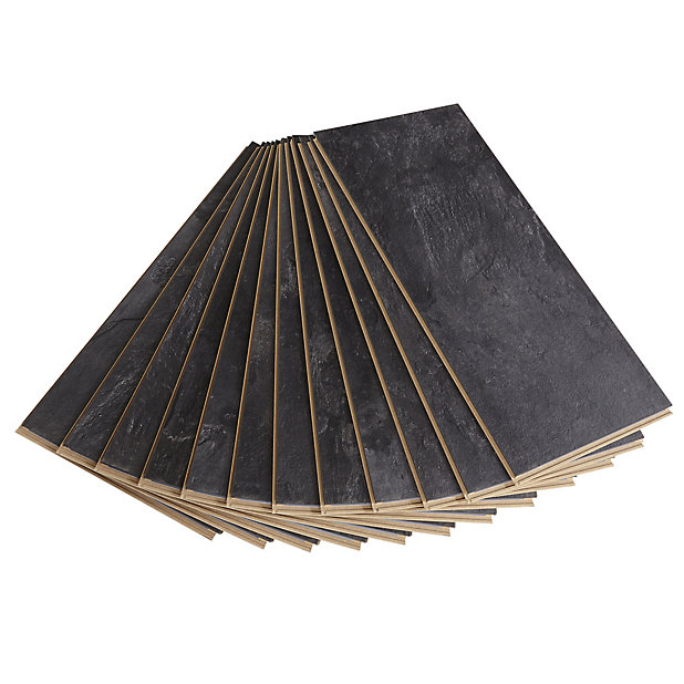 Harmonia Black Gloss Slate Effect, Harmonia Black Slate Effect Laminate Flooring