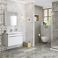 Harmony White Gloss Marble effect Ceramic Wall tile, Pack of 8, (L)500mm (W)250mm