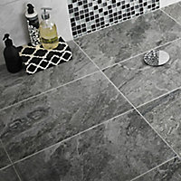 Haver Anthracite Matt Travertine effect Ceramic Wall & floor tile, Pack of 6, (L)600mm (W)300mm
