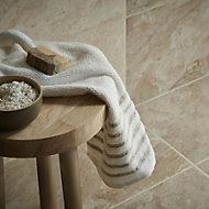 Haver Chalk Matt Travertine Stone effect Ceramic Wall & floor tile, Pack of 6, (L)300mm (W)600mm