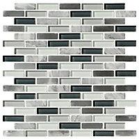 Helsinki Blue & grey Glass & stone Mosaic tile, (L)306mm (W)324mm