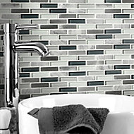 Helsinki Blue & grey Glass & stone Mosaic tile sheets, (L)306mm (W)324mm