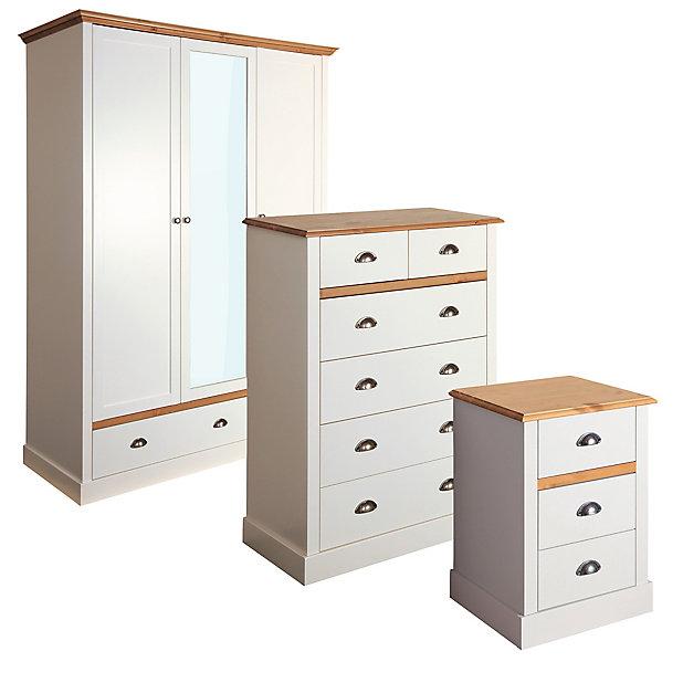 Hemsworth Cream Oak Effect 3 Piece, Diy Bedroom Furniture
