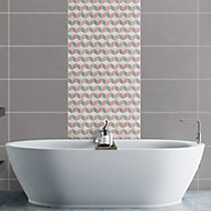 Hexia Blush & grey Polished Marble effect Porcelain Mosaic tile, (L)330mm (W)309mm