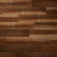 High gloss Walnut Gloss Wood effect Ceramic Floor tile, Pack of 7, (L)900mm (W)150mm
