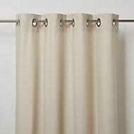 Hiva Beige Plain Unlined Eyelet Curtain (W)117cm (L)137cm, Single