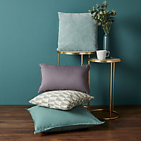 Hiva Plain Blue green Cushion (L)60cm x (W)60cm