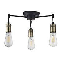 Hixley Matt Black Antique brass effect 3 Lamp Ceiling light