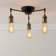 Hixley Matt Black Antique brass effect 3 Lamp Ceiling light